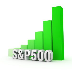 american main index grows. word s&p500 against the green rising graph. 3d illustration image