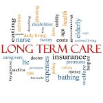 long term care word cloud concept with great terms such as policy, costs, elderly, age and more.
