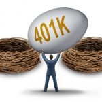 retirement savings choice dilemma with a businessman lifting and holding up a giant investment 401 k egg deciding on a strategy for the best nest to invest his financial golden age fund