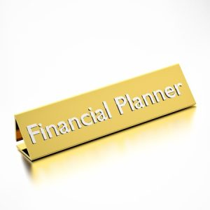 financial planner job title on nameplate, for career professions. 3d render.